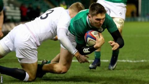 Ulster's Hayden Hyde scored Ireland's second try in Northampton