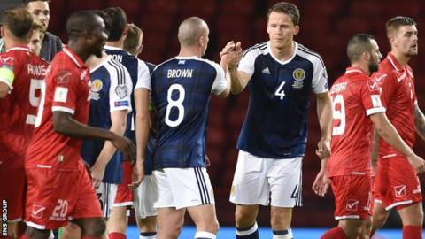 Christophe Berra and Scott Brown congratulate each other at full time