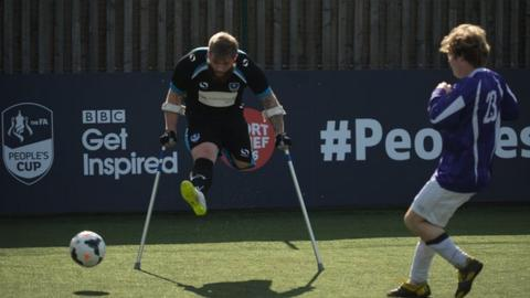 Pompey Amputees in action against Wandgas in the adult pan-disability category of the FA People's Cup finals day