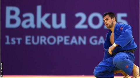 Alan Khubetsov of Russia after losing his bronze medal match at the 2015 Baku European Games