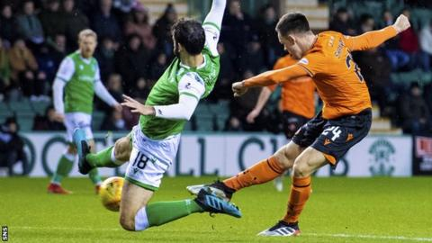 Lawrence Shankland scored his 27th club goal of the season against Hibs on Tuesday