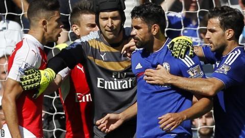 Diego Costa and Arsenal defender Gabriel