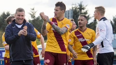 Motherwell celebrate at the end of their match against Inverness