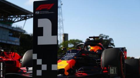 Max Verstappen's car in Parc ferme