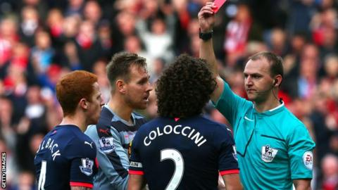 Fabricio Coloccini is sent off