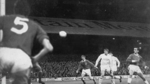 1965: Roy Vernon scores in Wales' 2-1 win over the Soviet Union at Ninian Park but Dave Bowen's side failed to qualify for the 1966 World Cup finals.