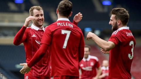 Kenny McLean celebrates scoring for Aberdeen