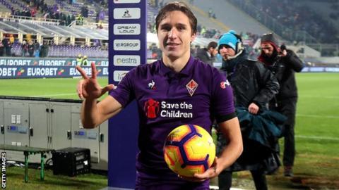 Federico Chiesa celebrates his hat-trick for Fiorentina