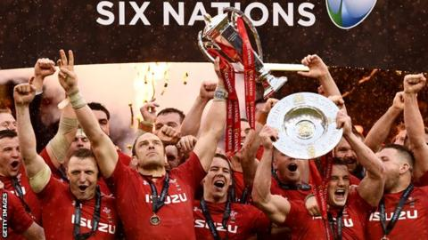 Wales celebrate their Six Nations win
