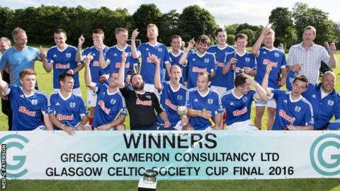 Kyles celebrate their Celtic Society Cup victory