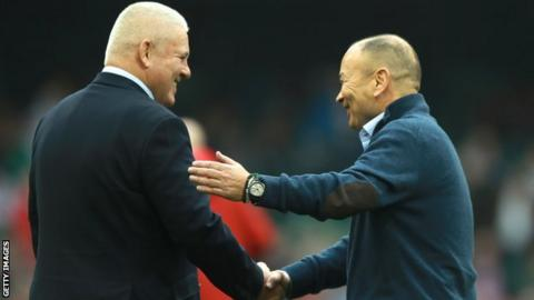 Warren Gatland and Eddie Jones shake hands