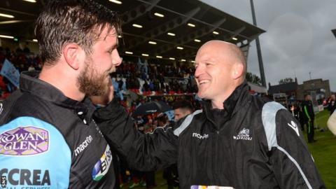 Gregor Townsend celebrates Glasgow Warriors' Pro12 victory