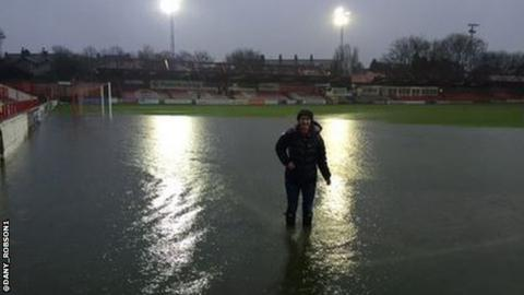 Accrington Stanley waterlogged pitch