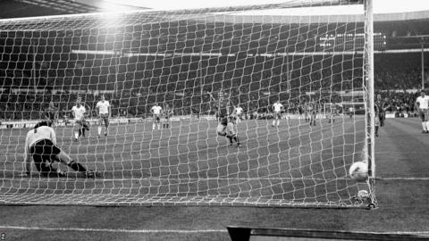 Leighton James beats Peter Shilton from the penalty spot to give Wales their only win at Wembley over England in May 1977.
