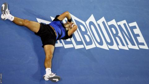Novak Djokovic celebrates his first Grand Slam title at the Australian Open in 2008