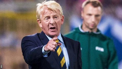 Gordon Strachan makes a point to his Scotland team in their win in Malta