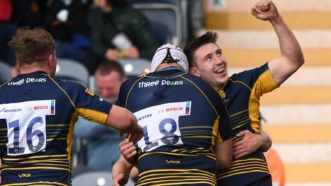Josh Adams' treble took his Worcester tally for the season to eight, which added to his Wales tries, puts him in double figures