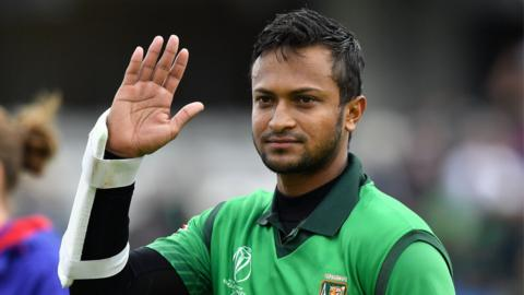 Bangladesh all-rounder Shakib Al Hasan waves to fans after a match