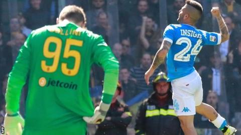 Lorenzo Insigne celebrates scoring for Napoli against Verona