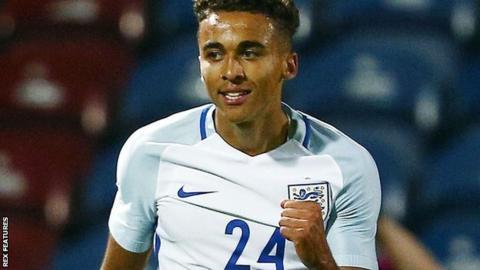 Dominic Calvert-Lewin celebrates scoring for England