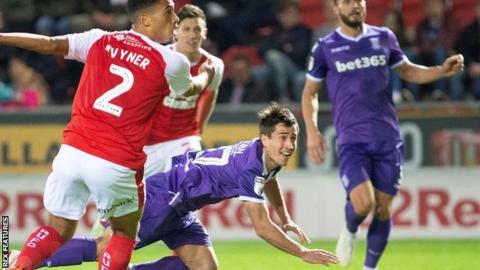 Bojan heads in Stoke's equaliser against Rotherham