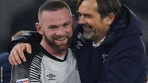 Wayne Rooney with Derby manager Phillip Cocu
