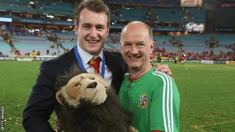 James Robson with Scotland full-back Stuart Hogg