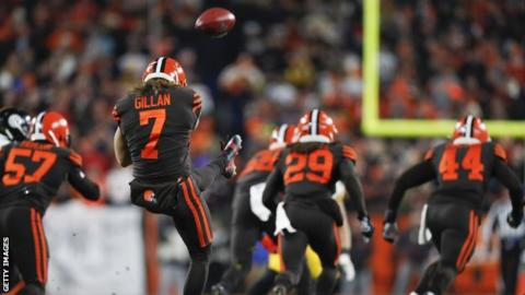 Rugby Gillan is a punter for the Cleveland Browns in the American Football Conference