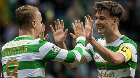 Celtic's Leigh Griffiths and Kieran Tierney celebrate against Kilmarnock
