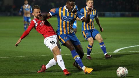 "Salford City""s Danny Lloyd and Shrewsbury Town""s Omar Beckles"