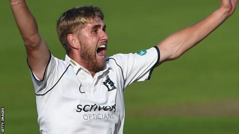 Warwickshire's Olly Stone appeals for a wicket