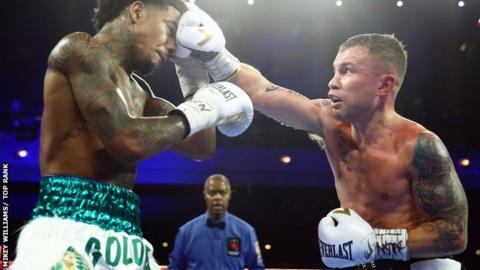 Carl Frampton lands a punch on Tyler McCreary