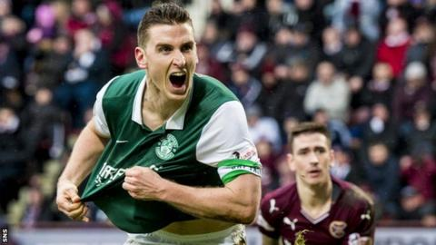 Hibs' Paul Hanlon celebrates against Hearts