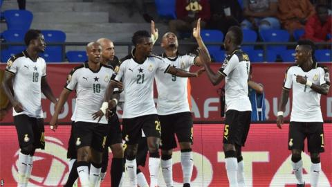 Ghana's Jordan Ayew leads his team's celebrations against DR Congo