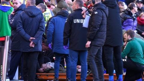 Leeds teenager Clarke taken to hospital after touchline treatment