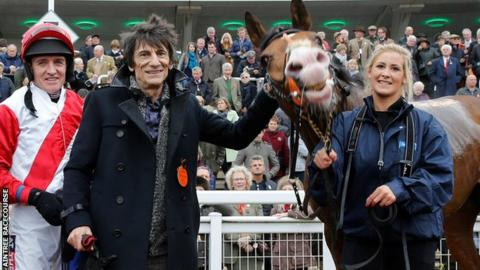 Jockey Barry Geraghty, Ronnie Wood and Sandymount Duke