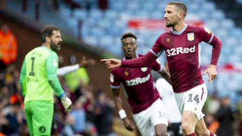 Conor Hourihane (right) scored the first goal and made the second as Villa dominated the first half