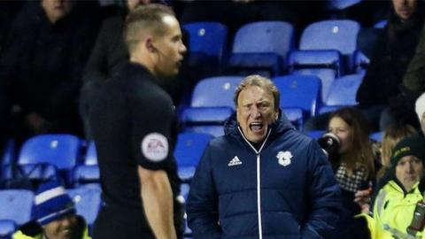 Cardiff manager Neil Warnock shows his displeasure to referee Steve Martin