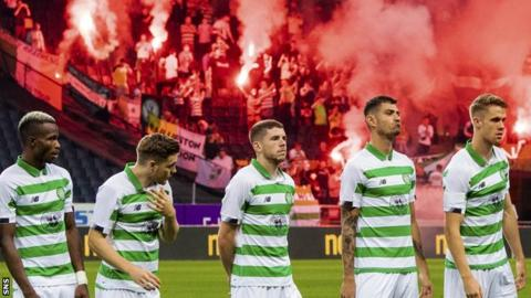 Celtic won 4-1 at AIK to secure a place in the Europa League group stage