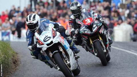 William Dunlop and Michael Dunlop in action at the Skerries road races