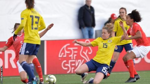 Scotland defender Sophie Howard makes an interception against the well-organised Swiss
