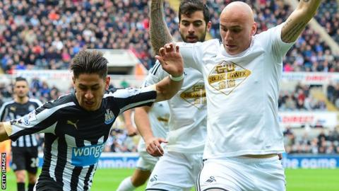 Jonjo Shelvey in action against Newcastle in April
