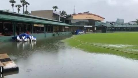 A pool of water on the edge of the outfield at the P Sara Oval in Colombo, which forced England against a Sri Lanka Cricket XI to be abandoned