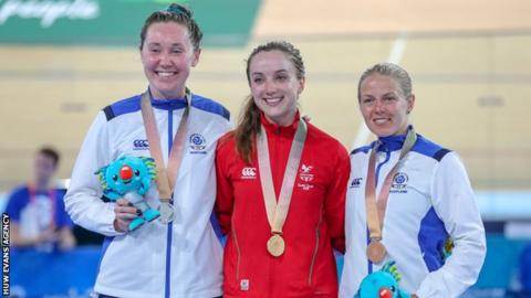 Katie Archibald of Scotland wins silver, Elinor Barker of Wales wins gold and Neah Evans of Scotland wins bronze