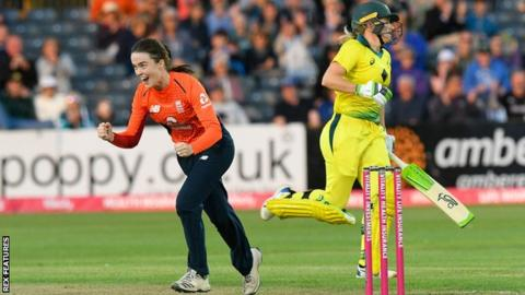 England spinner Mady Villiers celebrates taking a wicket against Australia
