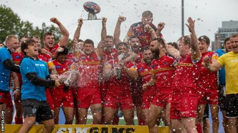 London Broncos celebrate winning the Million Pound Game