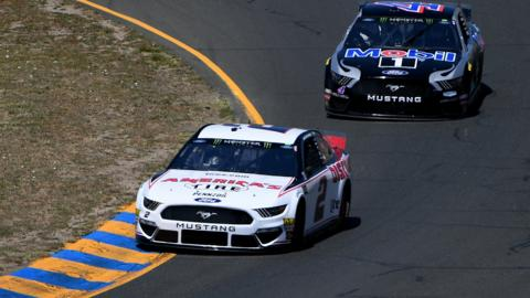 SONOMA, CALIFORNIA - JUNE 21: Brad Keselowski, driver of the #2 America's Tire Ford, leads Kevin Harvick, driver of the #4 Mobil 1 Ford, during practice for the Monster Energy NASCAR Cup Series Toyota/Save Mart 350 at Sonoma Raceway on June 21, 2019 in Sonoma, California. (Photo by Robert Reiners/Getty Images)
