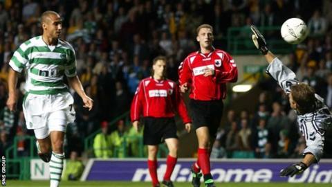 Henrik Larsson scored three when Suduva were last at Celtic Park