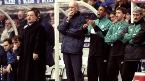 Dick Advocaat and John Barnes (third right) during an Old Firm game in Novemebr 1999