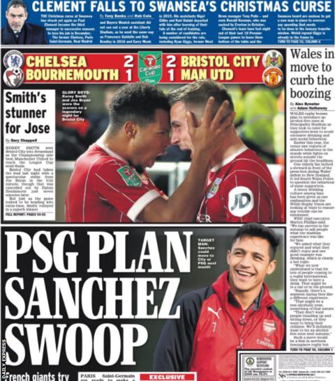 The Daily Express links Arsenal's Alexis Sanchez with Paris St-Germain